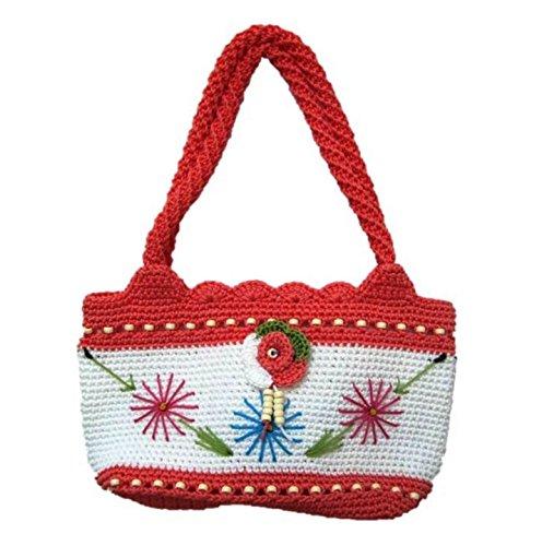 Nylon Crochet Bag Shoulder Office Multipurpose Purse Handmade Handbag for Women (Pink)