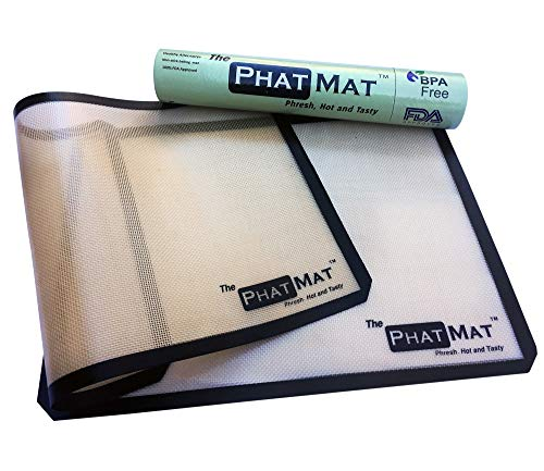 PhatMat Silicone Baking Mat - Set of 2 Half Sheet Non Stick Premium Silicon Liner for Bake Pans - Professional Grade, for Cookie, Macaron, Pastry, Bread Making - 16 1/2