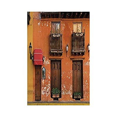 Polyester Garden Flag Outdoor Flag House Flag Banner,America,Cartagena Streets with Vibrant Color Building Facade Caribbean Landscape Columbia Decorative,Orange Brown,for Wedding Anniversary Home Outd