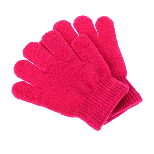 Pinksee Kids Boys Girls Winter Warm Stretchy Knitted Magic Gloves Rose One Size