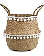BlueMake Kosz na brzuch z trawy morskiej, pleciony, do przechowywania roślin lub zabawek, salonu lub łazienki