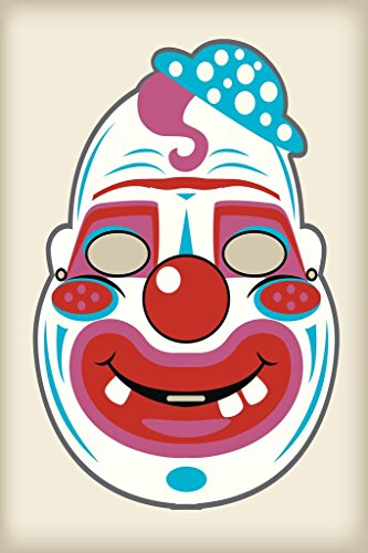 Creepy Clown Vintage Mask Decoration or Halloween Costume Cutout Stretched Canvas Wall Art 16x24 inch