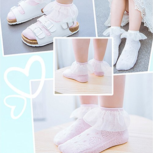Vbiger Girls Cute Eyelet Frilly Princess Lace Ruffles Socks Toddler/ Little Girls Ankle Socks, 5 Pairs£¨5-7 years) by VBIGER (Image #6)