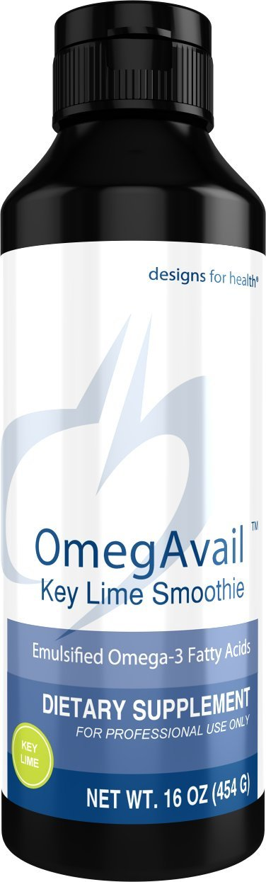 Designs for Health OmegAvail Smoothie - Key Lime TG Fish Oil Emulsion, Triglyceride Fish Oil (29 Servings, 16 Ounces)