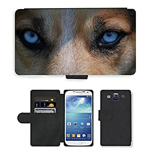 Hot Style Cell Phone Card Slot PU Leather Wallet Case // M00109312 Eyes Animal Nature Dog Blue Danger // Samsung Galaxy S3 S III SIII i9300