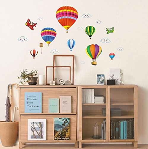 Removable 3D Hot Air Balloon Aircraft Wall Decals Removable Wall Decor Decorative Painting Supplies & Wall Treatments Stickers for Girls Kids Living Room Bedroom Office
