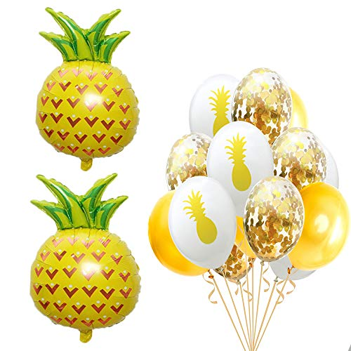 Beach Summer Tropical Party Theme Pineapple Balloons Hawaii Party Decorative Mylar Balloon Colorful Confetti Balloons for Luau Party Decor Hawaiian Decorations Party Supplies -
