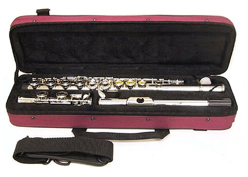 Nickel Plated C Flute with Burgundy Case