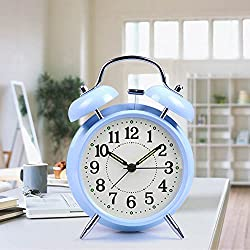 Ayzr Creative Alarm Clock Simple Double Bell Electronic Clock Mute Luminous Fashion Student Bedroom Living Room Dormitory Clock,Blue
