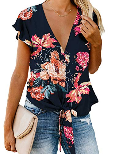 Kaei&Shi Flutter Sleeve Tops for Women,Chiffon V Neck Button Down Blouse,Sexy Tie Knot Shirt Black Floral Large