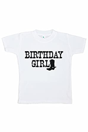 7 Ate 9 Apparel Girls Cowgirl Birthday T Shirt Small White