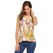 Meaneor Women's Floral Print Chiffon Sleeveless V Neck Pullover Pleated Top