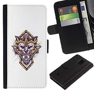 UNIQCASE - Samsung Galaxy S5 Mini, SM-G800, NOT S5 REGULAR! - Fantasy Warrior Wolf Skull - Cuero PU Delgado caso cubierta Shell Armor Funda Case Cover