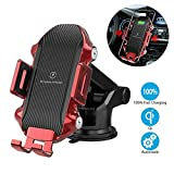 AMYBT Automatic Induction Fast Wireless Car Charger air Vent & Windshield Dashboard Cell Phone Mount Holder for iPhone Samsung Universal(Red)