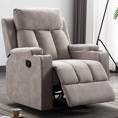 ANJ Fabric Recliner Chair with 2 Cup Holders Contemporary Theater Seating Padded Single Sofa for Living Room Light Grey
