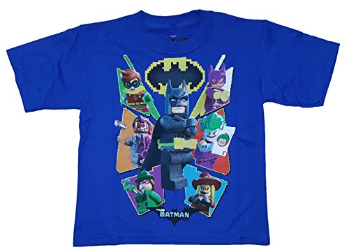 Blue Graphic Tee (Boys DC Comics Lego Batman Movie Characters Blue Graphic T-Shirt - Medium)