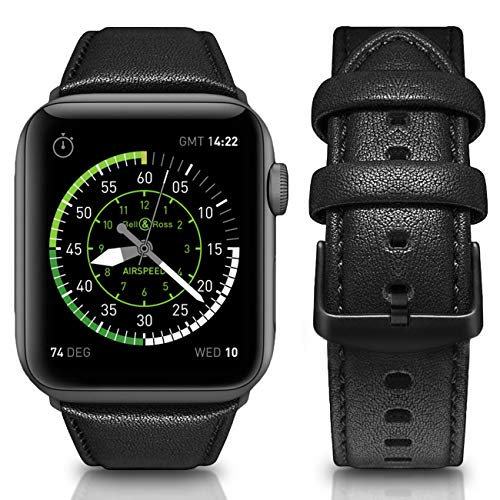 Mumba Compatible for Apple Watch Band 44mm 42mm, Genuine Leather Replacement for Iwatch Bands with Stainless Metal Buckle,Compatible with iWatch Series 4 Series 3 2 1 Sport Edition