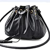 GSKTY Women's Handbag Cylindrical Belt Hollow Oblique Shoulder Bag