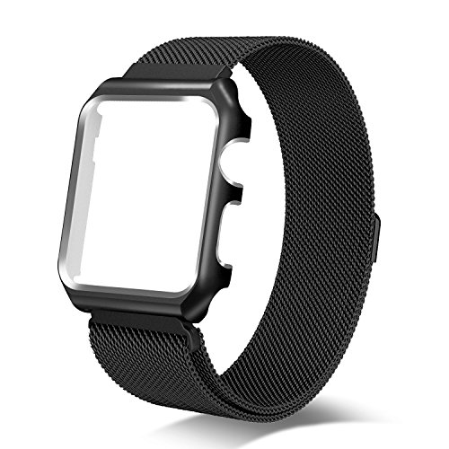 Yearscase 38MM Milanese Loop Replacement Band with Metal Protective Case for Apple Watch Series 3 Series 2 Series 1 Sport&Edition - Black
