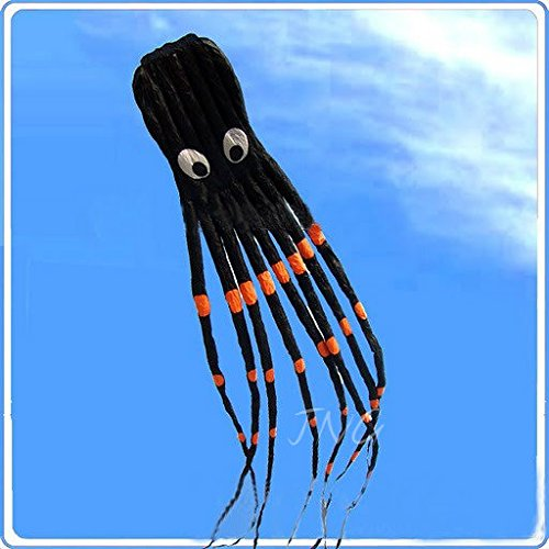 Amazona's Presentz® Black 3D 24ft Large Octopus Paul Parafoil Kite Black with Handle & String, Beach Park Outdoor Fun by Amazona's presentz (Image #1)