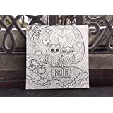 Custom Coloring CANVAS, Best Christmas Gift DIY Wall Canvas, Cute Owls, PERSONALIZE FOR FREE With ANY Name!