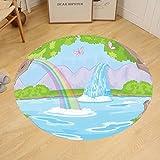 Gzhihine Custom round floor mat Teen Girls Decor Print of Fairy Landscape with Waterfall Rainbow Lake Butterflies magic land Bedroom Living Room Dorm Green Blue