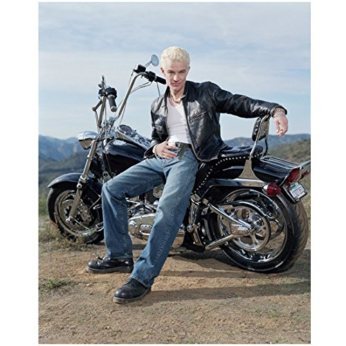 James Marsters Seated on Harley Davidson Holding Belt Buckle Looking HOT 8 x 10 Photo
