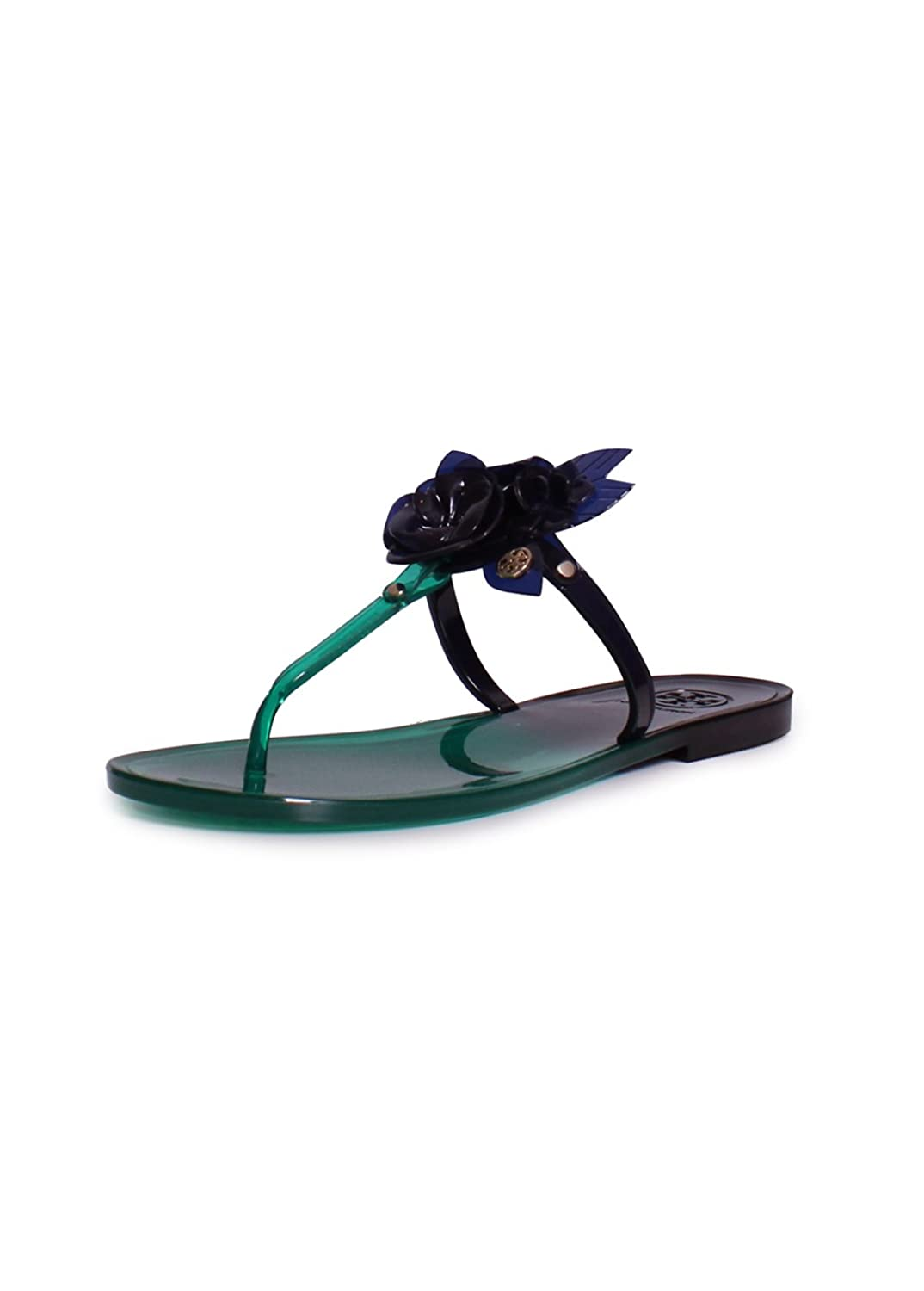 Tory Burch Blossom Dual Tone Jelly Sandal, Emerald Stone/Navy Sea