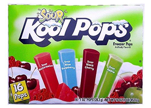 Sour Kool Pops Freezer Pops,(3 packs of 16-1 oz Pops). Sour Watermelon,Sour blue raspberry, Sour black Cherry,Sour Apple