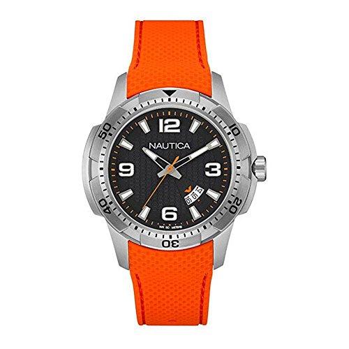 Nautica Black Dial Mens Orange Silicone Mens Watch NAI12519G
