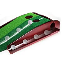 PLAYEAGLE Dual-Track Indoor Mini Wooden Golf Putting Practice Green - Extra Long 9 Feet Mat, 2 Holes Gravity Ball Return and Key Distance Markings