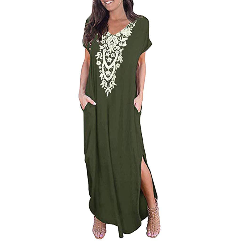 Sttech1 Women's Sleeveless Long Dress Casual O-Neck Print Dress Party Floor-Length Dress with Pocket Green