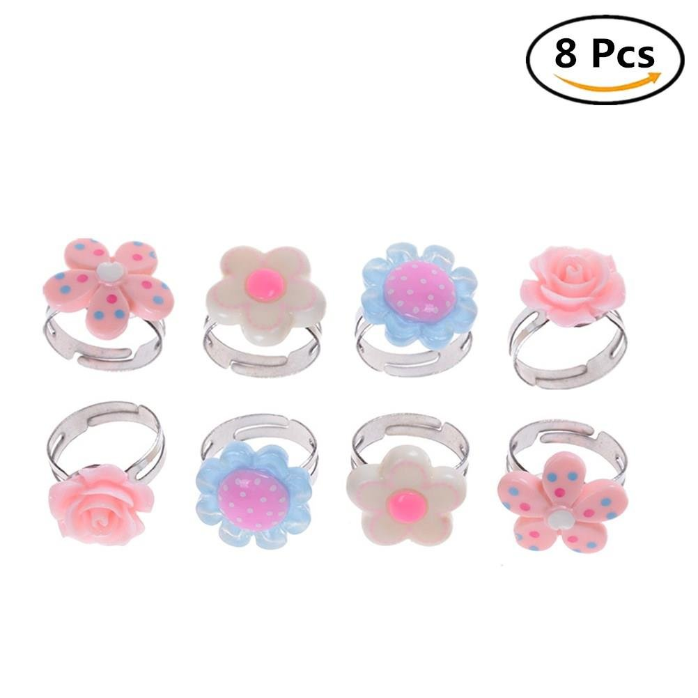 Adjustable Flower Ring for Kids Multi Color Cute Rings For Girls Handmade Jewelry Set of 8, 4 Different Kinds of Style 4U-Lucky