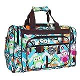 NGIL Travel Duffel Bag, Owl Chevron Aqua Brown (16-inch)