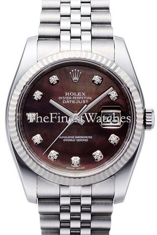 Rolex Datejust 36mm Black Diamond Dial White Gold Stainless Steel Men's Watch 116234