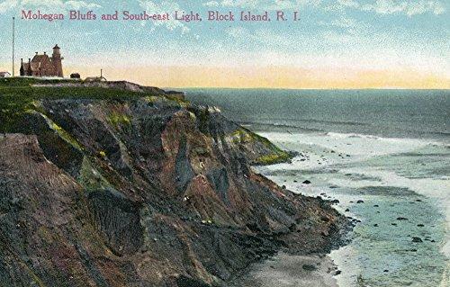 Block Island, RI - View of Mohegan Bluffs and Southeast Lighthouse (16x24 Fine Art Giclee Gallery Print, Home Wall Decor Artwork Poster)