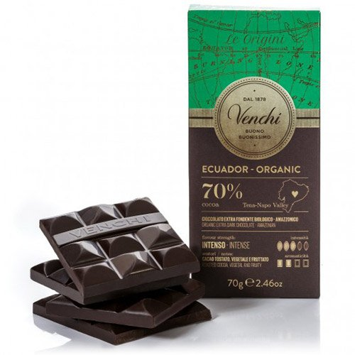 Venchi Italian Chocolate - Venchi Ecuador Organic Blend 70% Cocoa Dark Chocolate Bar (70 gram)
