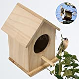 Hot Sale! Wooden Bird House Feeder Wild Birds Nest Home Garden Nesting With Wood Stick