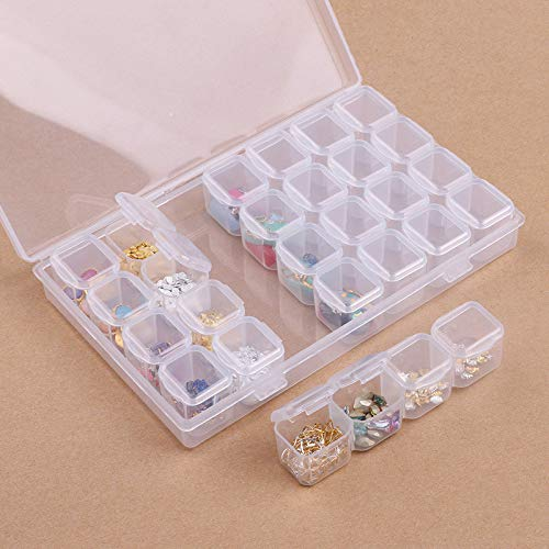 WYQN Daimond Painting 28 Compartment Empty Nail Art Decoration Storage Case Box Nail Glitter Rhinestone Crystal Beads Accessories Container Nail Tool
