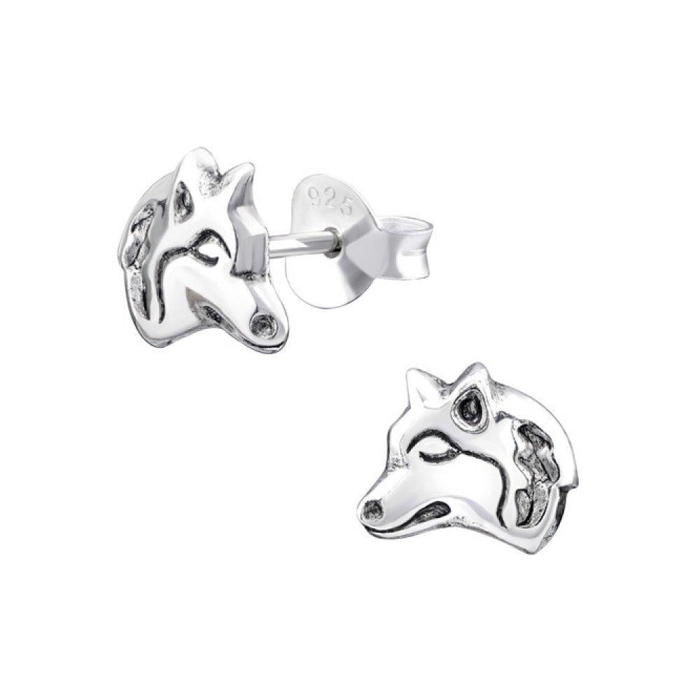 Sterling Silver Children's Wolf Stud Earrings