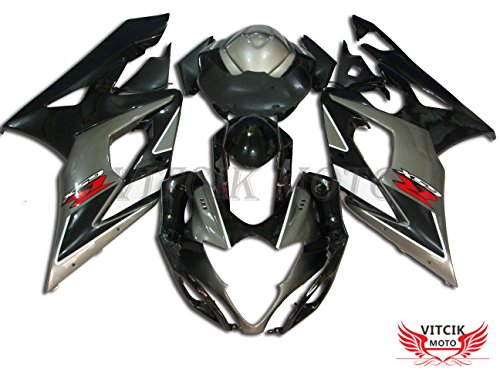 VITCIK (Fairing Kits Fit for Suzuki GSXR1000 K5 2005 2006 GSXR 1000 GSX R1000 K5 05 06) Plastic ABS Injection Mold Complete Motorcycle Body Aftermarket Bodywork Frame (Silver & Black) A042