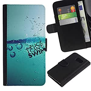 NEECELL GIFT forCITY // Billetera de cuero Caso Cubierta de protección Carcasa / Leather Wallet Case for Samsung Galaxy S6 // Agua Splash