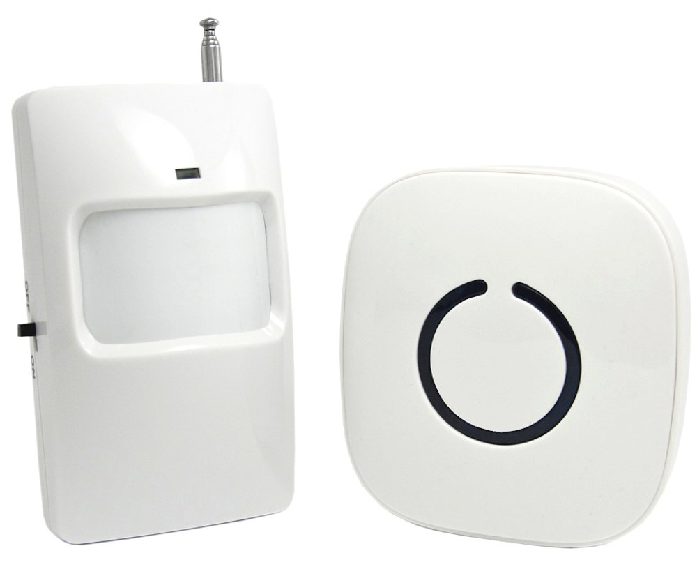 SadoTech Wireless PIR Motion Sensor Doorbell Operating at over 500-feet Range with Over 50 Chimes, No Batteries Required for Receiver, (White), Fixed Code C Series.