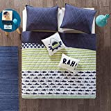 Urban Habitat Kids Finn Twin/Twin Xl Bedding Sets Boys Quilt Set - Green, Navy , Shark Stripe – 4 Piece Kids Quilt For Boys – 100% Cotton Quilt Sets Coverlet