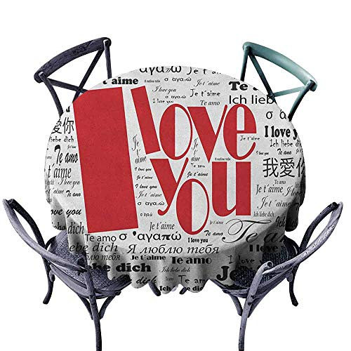 - ScottDecor Dinning Round Tablecloth Fabric Tablecloth I Love You,Newspaper Stylized International Valentines Words Contemporary Happy Day, White Black Red Diameter 54