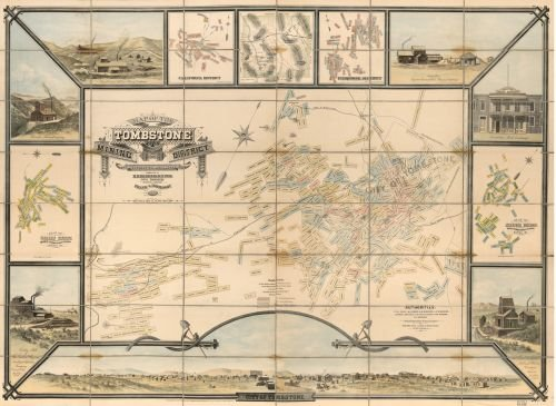 1881 Map of the Tombstone mining district : Cochise Co., Arizona Ter. - Size: 18x24 - Ready to Frame