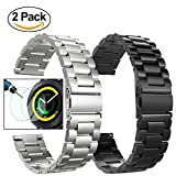 Gear Sport/S2 Classic Band, Valkit 20mm Solid Stainless Steel Bands Metal Replacement Watch Strap Business Bracelet + Tempered Glass screen protector for Samsung Gear Sport/s2 Classic Smart Watch