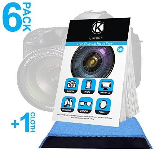 Kit Lens Optic Cleaning (Camkix Lens Cleaning Paper Tissue 6X booklets/300 Sheets + Double Sided Cleaning Cloth - Lens Cleaning Paper for Use on Camera Lenses - Double-Sided Cleaning Cloth for Use on Electronic Screens)