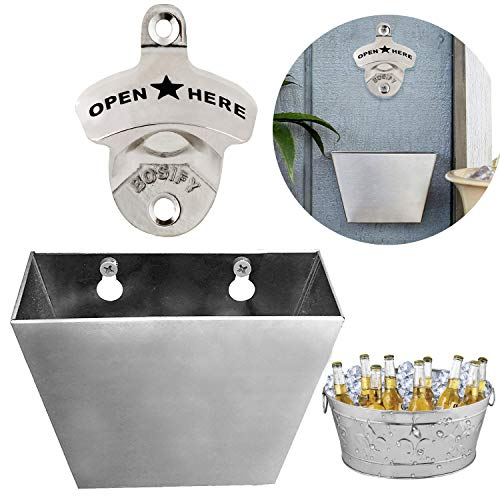 Wall Mount Beer Soda Bottle Opener Set with Mounted Removable Cap Catcher Bin, Free Mounting Hardware Included, Metal Combo Pack ()