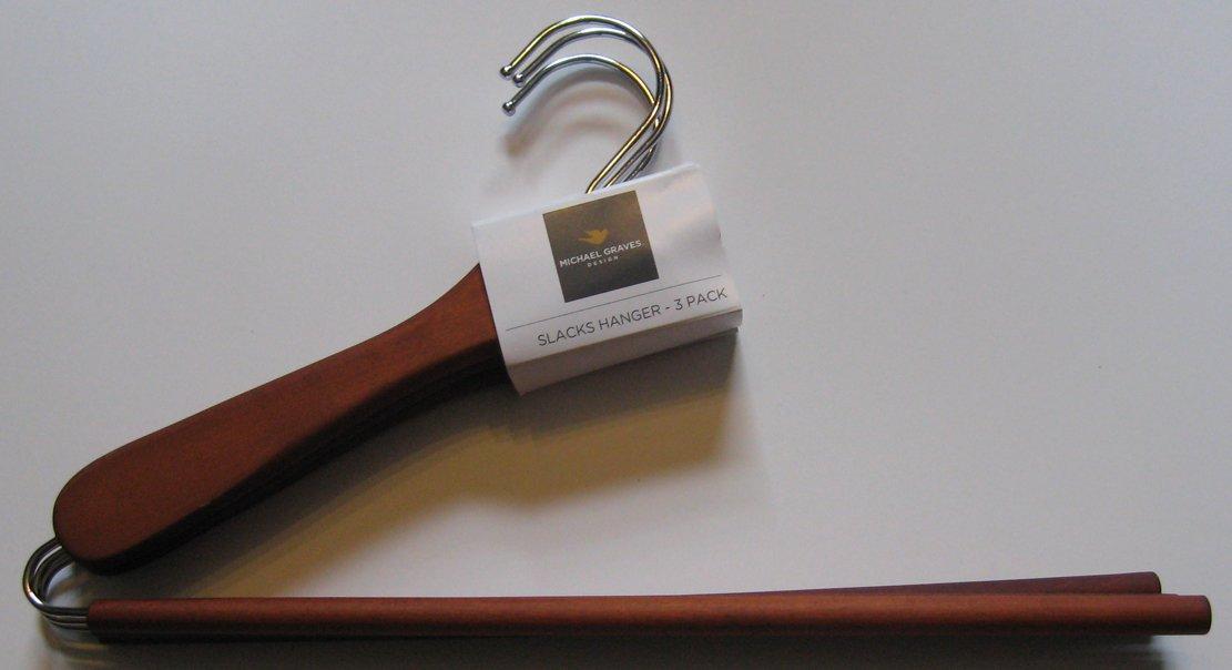 Amazon.com: Michael Graves Design 3 Pack Slacks Hanger Set, Cherry  Mahogany: Home U0026 Kitchen